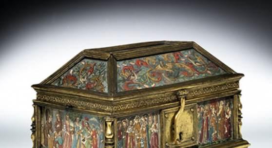 """Renaissance-Schatulle auf die Heilige Adelheid von Burgund 16 x 21,5 x 13,6 cm. An der Basis vorn die gravierte Datierung """"1540"""". Schätzpreis:20.000 - 30.000 EUR"""