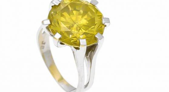 Brillant-Ring WG 750/000 mit einem Brillanten 12,30 ct FancyYellow/SI, Cut, Symmetrie, Polish excellent, Color enhanced, D. 14 mm, RG 56, 8,85 g, mit Expertise 2019  Mindestpreis:	17.000 EUR