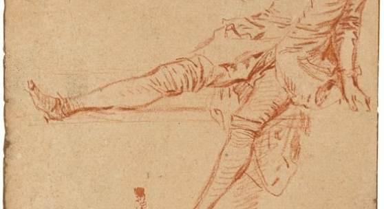 """Antoine Watteau (Valenciennes 1684 – 1721 Nogent-sur-Marne) """"Étude de jeune homme assis, la jambe droite et la main levées"""".  Rötel auf dünnem Büttenpapier. 15,8 × 11 cm ( 6 ¼ × 4 ⅜ in.). Schätzpreis:70.000 - 90.000 EUR"""