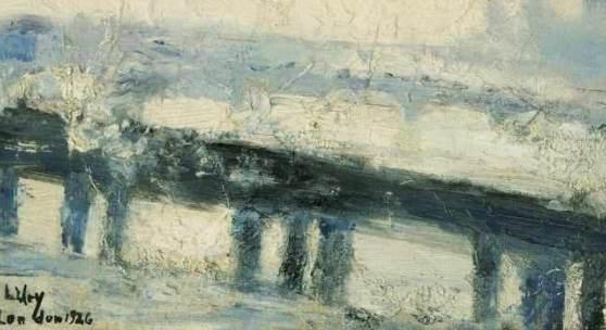 Lesser Ury (Birnbaum 1861 - Berlin 1931) Eisenbahnbrücke über die Themse Öl/Malkarton/Karton, 31,5 x 23,5 cm, l. u. sign. und dat. L. Ury London 1926 Mindestpreis:70.000 EUR
