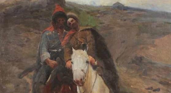 """ROUBAUD, Frans Alekseevich, zugeschrieben, """"Verwundeter Tscherkesse mit Begleiter"""" Mindestpreis:8.000 EUR"""