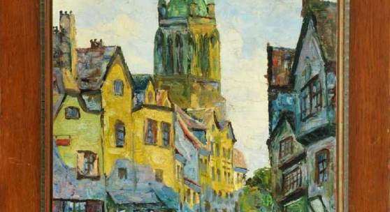 Kupka, Frantisek, zugeschr., 1871 Opocno - 1957 Paris-Puteaux Öl/Jute(?), 64,5 x 45,5 cm Mindestpreis:55.000 EUR