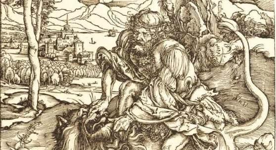 Albrecht Dürer Samson tötet den Löwen Holzschnitt auf Bütten. (Um 1497/98). 38,1 x 27,9 cm (Blattgröße).  Schätzpreis:40.000 EUR