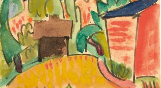 Karl Schmidt-Rottluff (Rottluff 1884 - 1976 Berlin)  Künstlerpostkarte 'Landschaft mit Häusern', 1921, Schätzpreis:25.000 - 30.000 EUR