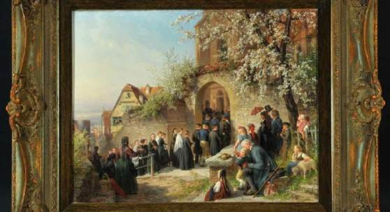 "Schüz, Theodor Christoph, 1830 Thumlingen - 1900 Düsseldorf Öl/Lwd, 35,5 x 46,5 cm, "" Kirchgang an einem Sonntagmorgen im Frühling "",  Mindestpreis:9.500 EUR"