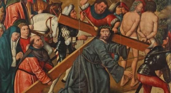 """Niederrheinischer Meister des 15. Jh. wohl Umkreis Derick Baegert (1440-1515), """"Simon von Zyrene hilft Christus das Kreuz tragen"""", Mindestpreis:10.000 EUR"""