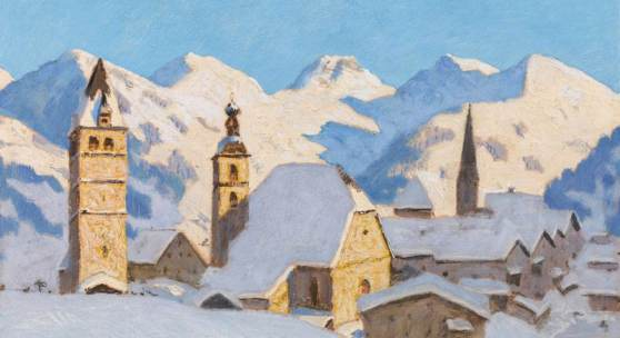 Alfons Walde* (1891 – 1958) Kitzbühel im Winter, 1925 Öltempera auf Papier auf Karton 44,5 x 58 cm Zuschlag: € 190.000 Kaufpreis: € 365.400