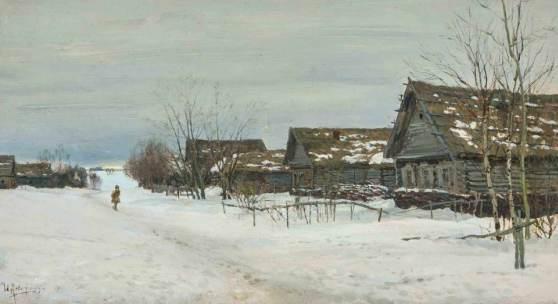 Levitan, Isaak (Wirballen 1860–1900 Moskau) Dorf im Schnee. Wohl aus den 1880er Jahren. Öl auf Halbkarton, auf Leinwand montiert. Unten links signiert. 21x37,8 cm.  Schätzpreis:20.000 - 30.000 CHF