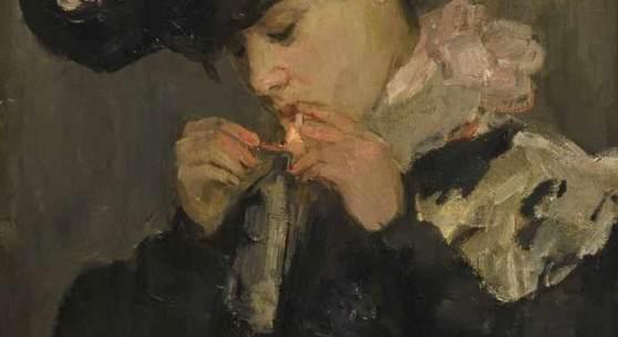 ISRAELS, Isaac (1865 Amsterdam - 1934 Den Haag)  Bildnis einer jungen Dame mit Zigarette Öl/Leinwand.Holland.Links unten signiert. 55 x 38 cm.95 x 79 cm. Zuschlagspreis:120.000 EUR