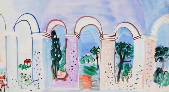 """Dufy, Raoul (Le Havre 1877–1953 Forcalquier) """"Terrasse aux Arcades à Vallauris"""". 1927.  Schätzpreis:16.000 - 22.000 CHF"""