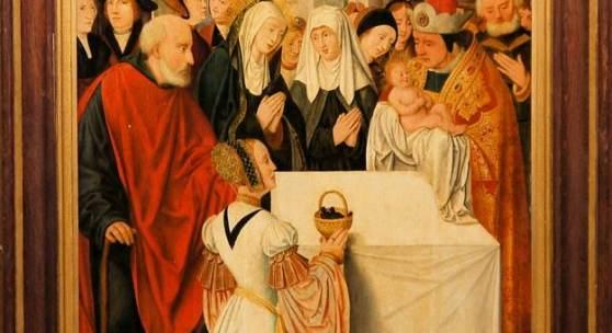 Anonym, 1520er Jahre, Werkstatt/Umkreis Joos van Cleve, Die Darbringung im Tempel, Ölgemälde, gerahmt  Aufrufpreis:5.500 EUR Schätzpreis:15.000 - 18.000 EUR