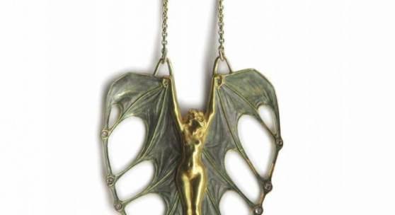 Lalique, Rene, Paris Anhaenger 'Femme chauve souris', 1898-1900, Schätzpreis:30.000 - 50.000 EUR