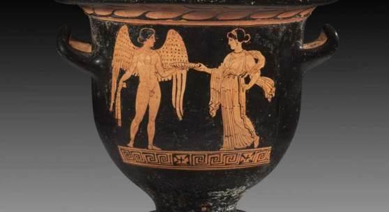 Apulischer Glockenkrater des Tarporley-Malers. 390 - 380 v. Chr. H 28cm, ø Mündung 31,2cm, ø Fuß 13,2cm. Rotfigurig. Aufrufpreis:4.000 EUR Schätzpreis:5.000 EUR