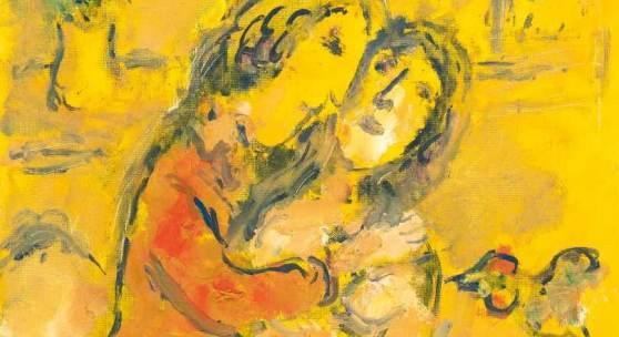 Marc Chagall Intérieur jaune Öl auf leinwandkaschiertem Malkarton. (1978-1980). Ca. 41 x 33 cm. Signiert unten rechts. Mindestpreis:250.000 EUR Aufrufpreis:250.000 EUR Schätzpreis:250.000 - 350.000 EUR
