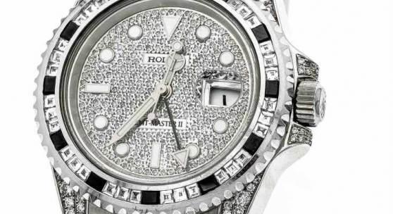 Rolex Herrenarmbanduhr Stahl GMT-Master 2, Automatik, mit Diamanten besetzt, Referenz-Nr. 116710LN, Serien-Nr. G242553 Mindestpreis:18.500 EUR