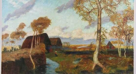 "Modersohn, Otto (Soest 1865 - 1943 Worpswede)  Gemälde ""Sturm im Teufelsmoor"", Öl auf Leinwand,  Mindestpreis: Mindestpreis:8.000 EUR"
