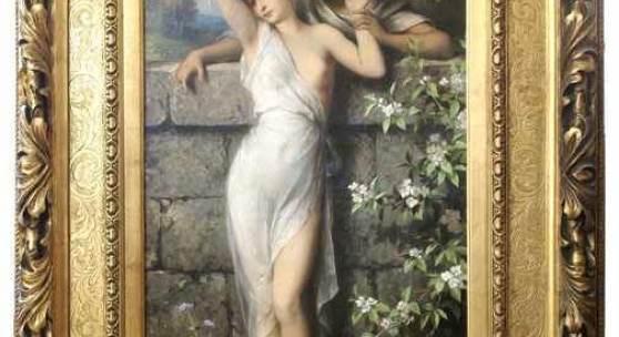 Schweninger, Carl d.J. (Wien 1854 - 1912). Junge Liebe. Öl auf Leinwand. Um 1890. Unten links signiert. 100 x 45 cm. Im prachtvollen Goldrahmen mit Messingschildchen.  Schätzpreis:8.000 EUR