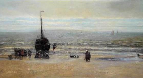 Hendrik Willem Mesdag, großes Seestück, Rückkehr eines Fischereischiffes bei Scheveningen, Ölgemälde um 1870, Aufrufpreis:14.000 EUR Schätzpreis:35.000 - 40.000 EUR