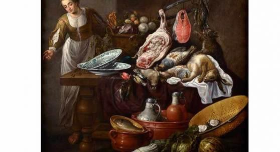 """Adriaen van Utrecht, 1599 Antwerpen """""""" 1652, zug. GROSSES KÜCHENSTILLLEBEN MIT EINER JUNGEN FRAU Öl auf Leinwand. ca. 140 x 145 cm. Schätzpreis:65.000 - 75.000 EUR"""