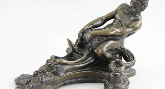 Briosco, Andrea, gen. Il Riccio (Trient ~1471 - 1532 Padua) attr.  Figürliches Schreibzeug, Bronze gegossen Mindestpreis:2.500 EUR