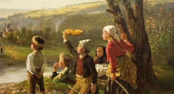 Hubert Salentin (1822 Zülpich - 1910 Düsseldorf) 'Hol' über', Landschaft mit 5 Kindern, Öl auf Leinwand, doubliert, 81 cm x 65 cm,   Zuschlagspreis:28.000 EUR