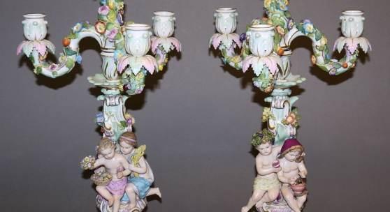 Paar Porzellan-Jahreszeiten-Kandelaber, Kgl. Meißen, 1860-1900, 1. Wahl Aufrufpreis:800 EUR Schätzpreis:3.500 - 4.500 EUR