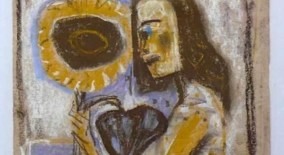 """Dix, Otto (1891 Gera - 1969 Singen) """"Mädchen mit Sonnenblume"""". Mindestpreis:10.000"""