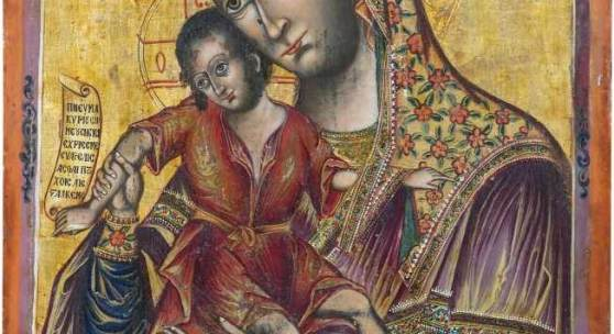 A rare and large icon showing the Mother of God of Kykkos. Greece, dated 1792.  Schätzpreis:5.000 - 6.000 EUR