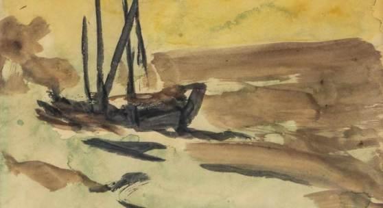 Emil Nolde 1867 Nolde - 1956 Neukirchen Boot, 1913. Aquarell auf Papier. Signiert unten rechts. 23,2 x 27,9 cm.  Schätzpreis:15.000 - 25.000 EUR