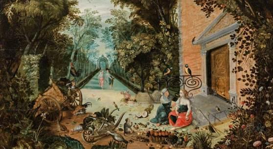 Adriaen van Stalbemt  Vertumnus und Pomona , um 1620/30 Öl auf Holz, parkettiert, 65,5 x 90 cm europäische Privatsammlung Kurz-Gutachten von Dr. Klaus Ertz, Lingen, 6. Mai 2019, liegt bei.