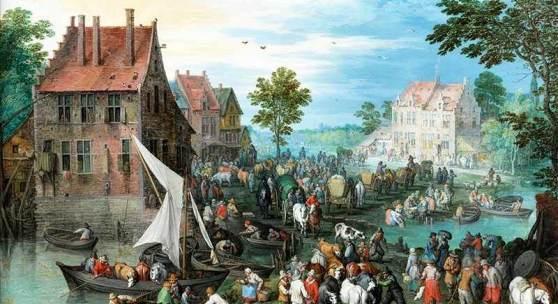 """Jan Brueghel der Ältere, 1568 Brüssel """""""" 1625 Antwerpen DORFLANDSCHAFT AM WASSER MIT VIEHMARKT Öl auf Kupfer.  Schätzpreis:650.000 - 900.000 EUR"""
