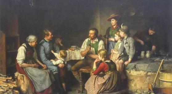 """Defregger, Franz von 1835 Stronach/Tirol - 1921 München, Öl auf Leinen, doubliert, """"der Urlauber"""", Alltagsleben der Tiroler, junger Soldat besucht seine Familie Mindestpreis:18.000 EUR"""