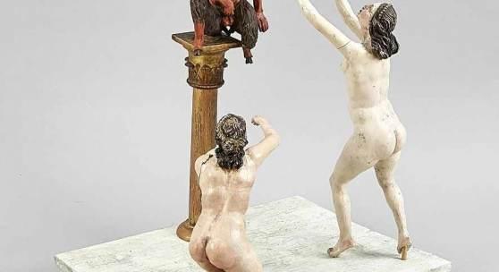 """Drei Altarfiguren zur """"Huldigung an Pan"""", w. Süddeutschland, 18. Jh., Holz, geschnitzt, farbig gefasst,  Mindestpreis:2.500 EUR"""