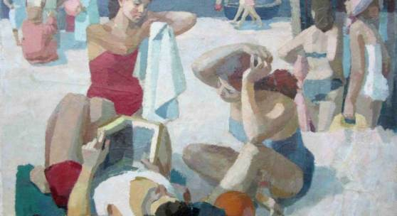 "Bondzin, Gerhard (1930 Mohrungen/Ostpreußen – 2014 Dresden) ""Jugend im Urlaub"" Öl/Gouache/Leinwand, auf Holz doubliert, 110x148 cm Aufrufpreis:7.500 EUR"