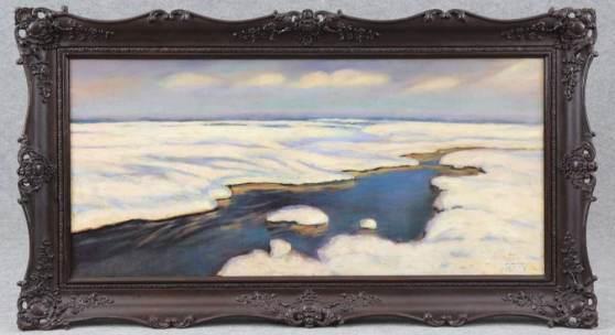 Falat, Julien (Tulig?owy bei Lemberg 1853 - 1929 Bystra bei Bielsko-Bia?a) Gemälde, Öl auf Platte, winterliche Flusslandschaft, Mindestpreis: 15.000 EUR