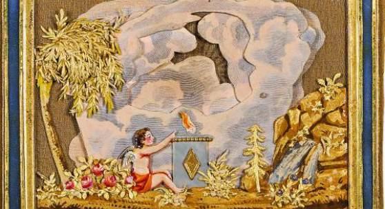 """J. J. Endletzberger Schätzpreis € 600 - 1.200 (St. Pölten 1779-1856 Wien) Ziehbild Wien, um 1825 Collage aus koloriertem Papierprägedruck und Goldpapier auf Seidengaze, Perlmutt; Spruch: """"Die Wolkenhülle schwindet! - Im Glanze sieht Ihr Blick/Des Herzens stillen Wunsch: Ihr unvergänglich _"""", monogrammiert """"I.E.""""; durch Ziehen an der unteren Lasche taucht unter der mittigen Wolke das Wort """"Glück"""" auf; 7,9 × 9,5 cm"""