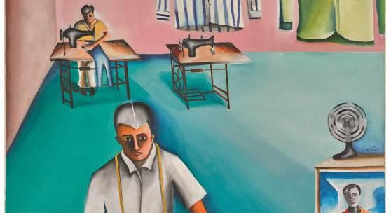Lot 110 - Bhupen Khakhar, De-Luxe Tailors, est. £250,000 - 350,000, sold £1,112,750