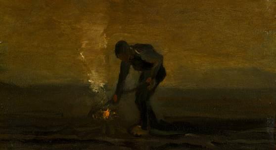 Lot 118 Vincent van Gogh Paysan brûlant de mauvaises herbes 1883 Oil on canvas est. $600,000-800,000 sold: $3,140,000