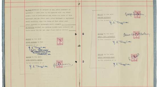 Lot 168, The Beatles, signed management contract with Brian Epstein, 24 January 1962, est. £200,000-300,000