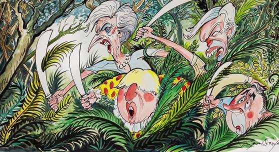 Lot 16, GERALD SCARFE LOST IN THE BREXIT JUNGLE593 by 967mm, pen, ink and watercolour drawing £5,000-7,000