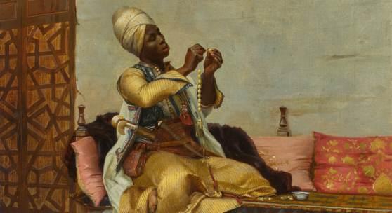 Theodoros Ralli (Greek, 1852-1909) Stringing Pearls, 1882, oil on canvas Estimate £80,000-120,000 / $112,000-168,000
