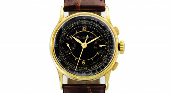 Lot 315 - Patek Philippe - Exceptional and rare yellow gold chronograph wristwatch registers