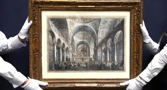 Giovanni Antonio Canal, called Canaletto The Presentation of the Doge in S. Marco Pen and brown ink and three shades of grey wash, heightened with touches of white over black chalk within original brown ink framing lines 381 by 550 mm