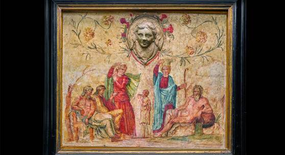 Lot 45  A Roman Wall-painting Fragment on Stucco, circa 2nd Century A.D., with early 18th Century Italian Restorations  est. £15,000-25,000