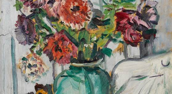 Anemones in a Green Vase, with Fruit by George Leslie Hunter (est. £60,000-80,000)