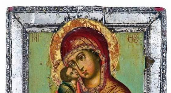Lot 9: Sehr feine Ikone mit der Gottesmutter vom Don (Donskaja), Russland, Moskau, Anfang 18. Jh., Erlös 11.400* Euro