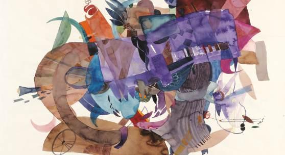 Lotte Berger, Fliegendes Schiff, 1968, Aquarell/Paper, 480 x 650 mm, Ausstellung: KLEINE GALERIE, Wien, 1080, Lotte Berger-Mahringer, Aquarelle, 1976, Foto © Galerie bei der Albertina ▪ Zetter, Wien.