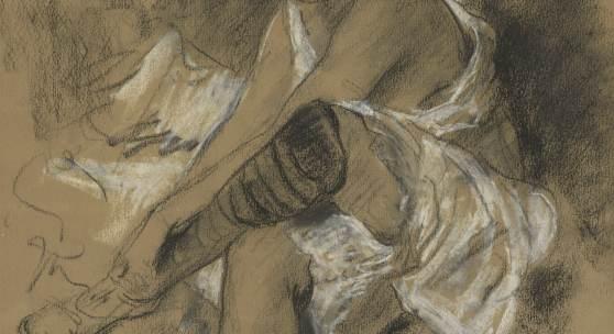 Lovis Corinth (1858–1925) Nach dem Bade - Strumpf anziehende Frau, 1906 Kohle und weiße Kreide auf festem bräunlichem Papier, 485 x 320 mm Hamburger Kunsthalle, Kupferstich- kabinett. Erworben mit Mitteln der Campe`schen Historischen Kunststiftung © Hamburger Kunsthalle / bpk Foto: Christoph Irrgang
