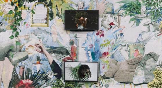 Swallow me, From Flanders to Italy (Ausschnitt), 2019, Teppich und zwei integrierte TV-Screens, Filmdatei, 200 x 460 cm © Courtesy: the artist