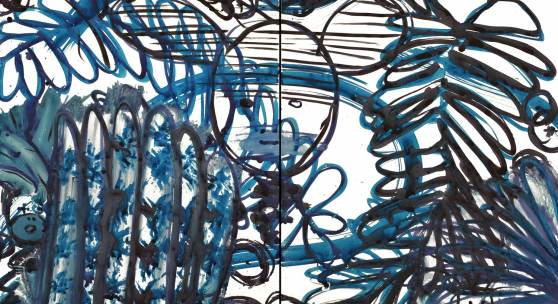 LuLu Blue 13 ( diptych) by Mark cooper 20 x 48 inches 2013 edit
